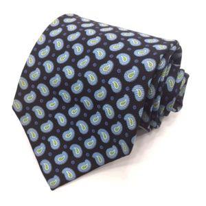 HUGO BOSS Blue Paisley 100% Silk Tie Made in Italy